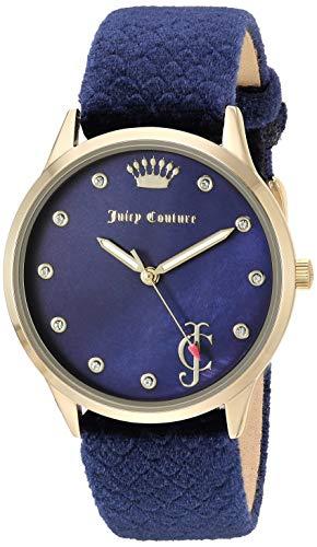 Juicy Couture Black Label - Reloj de pulsera con correa de terciopelo acentuado de cristal Swarovski para mujer