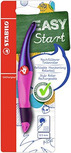 Penna Roller Ergonomica - STABILO EASYoriginal Holograph Edition per Destrimani in Magenta - Pack da 1 - Cartuccia Blu inclusa