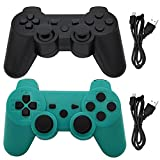 Ceozon PS3 Controller Wireless Playstation 3 Controller Wireless Bluetooth for Sony Playstation 3 Remote Wireless Joystick with Charging Cables 2 Pack Black + Green
