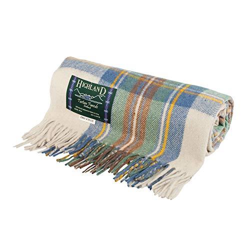Highland Scottish Wool Blend Tartan Tweed Extra Warm Blanket - STEWART MUTED BLUE - One Size