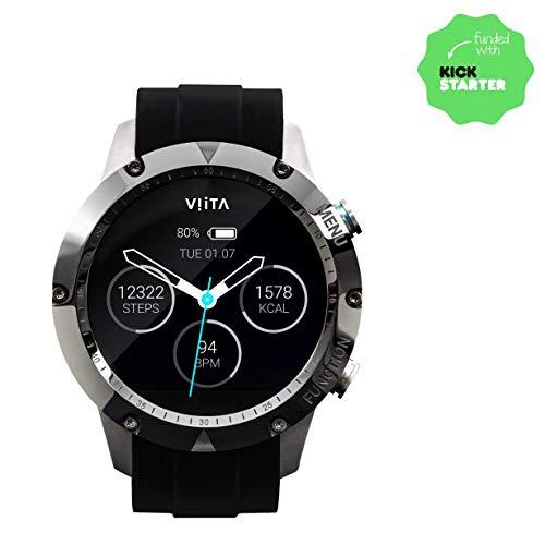 Viita Watch Active HRV Titan mit Silikon-Armband, Silber/schwarz