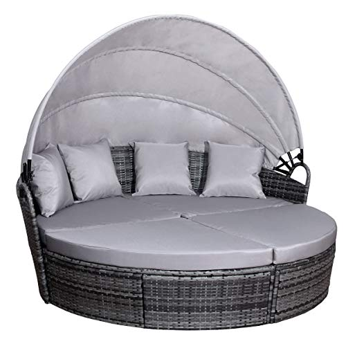SVITA Savannah Sonneninsel mit Dach Polyrattan-Lounge Gartenmuschel Rattanmöbel Gartenliege Graun