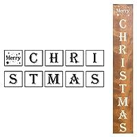 大きなクリスマスサイン 縦型ステンシル - 10個パック メリークリスマス ステンシルテンプレート 木製ペイント用 再利用可能なレターステンシル 玄関 ポーチサイン