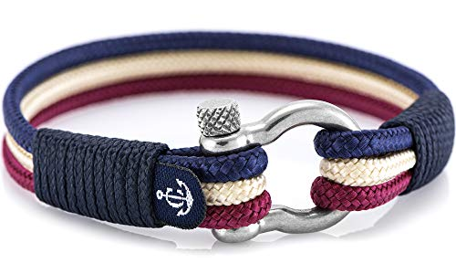 Handmade Unisex Nautical Bracelet by Constantin Nautics Made from Sailing Rope -Blue-Natur-Violet 19cm
