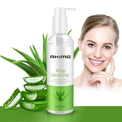 250 ML Gel d'Aloe Vera Bio avec Vitamine C - AKIMO Crème Hydratante Naturelle 100% pour Visage Mains Corps Cheveux Jambes Pieds, Réparer les Cicatrices, Apaisant et Anti-inflammatoire