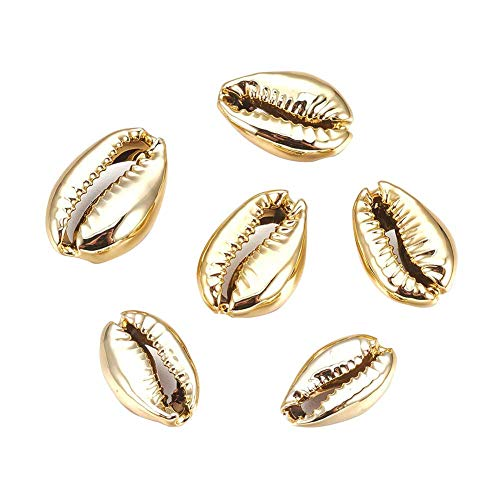 PandaHall ca. 50 STK. goldene galvanisierte Muschelperlen Kaurimuscheln für das Basteln,Heimtextilien,Strandparty
