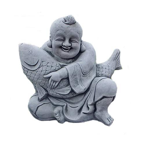 Steinfigur massiver Buddha mit großem Koi Fisch aus Steinguss Frostfrei Teich Gartenfigur