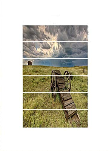 Nomte 3D Prairie Barn Holzwagenrad 18×100cm×6pcs Selbstklebende Standrohraufkleber DIY Vinyl Treppenaufkleber Aufkleber Tapete Kunstdekoration für zu Hause Hintergrund
