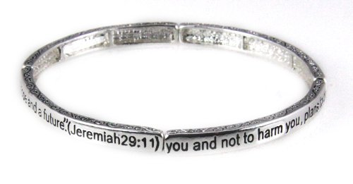 4030718 Jeremiah 29:11 Stackable Scripture Stretch Christian Bracelet Religious Cross Bible