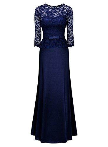 Miusol Damen Abendkleid 3/4 Arm Elegant Spitzen Kleid Brautjungfer Langes Cocktailkleid Navy Blau Gr.M - 3