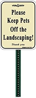 Small Discreet Please Keep Pets Off The Landscaping Lawn Sign and 1ft Steel Post Mounted to Place in Your Lawn Or Garden