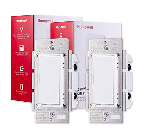 Honeywell UltraPro ZWave Plus Smart Light Switch 2pack InWall White amp Almond Paddles | BuiltIn Repeater amp Range Extender | ZWave Hub Required  Alexa and Google Assistant Compatible 44946