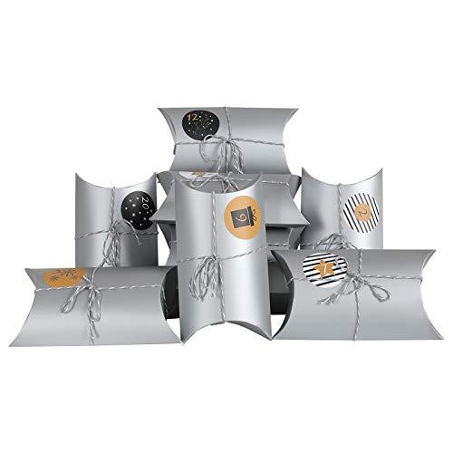 YILEEY 48 STK Klein Geschenkschachtel Papier Tüten Geschenkbox mit Aufkleber, 17.5 x 9.5cm DIY Gastgeschenke Hochzeit, Pralinenschachtel Leer Schachtel Kinder Weihnachts Party, MEHRWEG