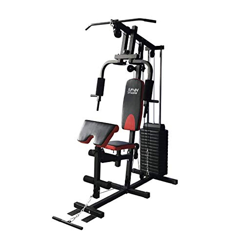 FIT4HOME Multi-functional Home Gym Workout Station Fitness Body Exercise | Adjustable Seat, 81kg Weight Plates | Black Red TF-7001