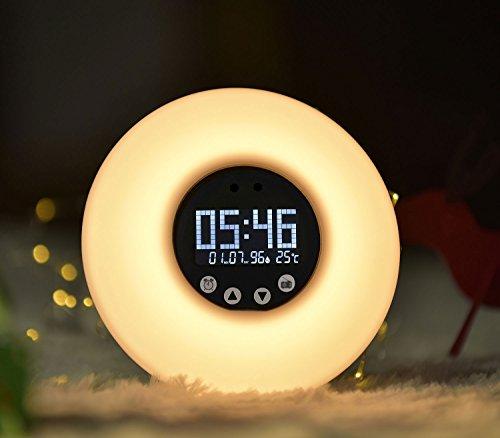 Abeststudio Lámpara De Despertador Lámpara De Noche Reloj Alarma Y Radio FM, 9Cambio De Color Eveil Luz Con Led Táctil, Wake-Up Light Regalo Ideal Para Cumpleaños Fiestas