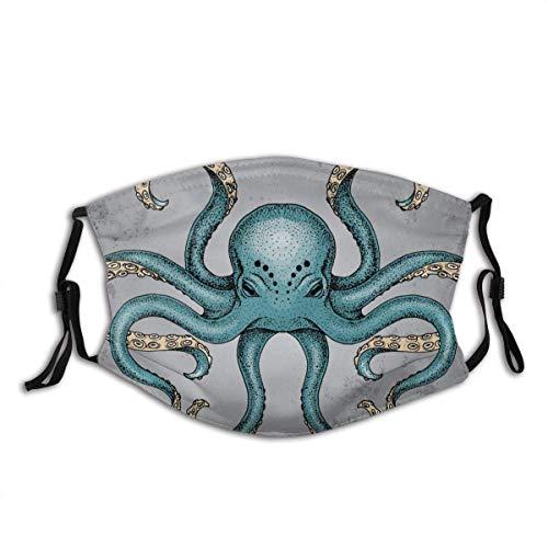 Mundschutz Blue Octopus Grunge Hintergrund Dotwork Tattoo Waschbarer wiederverwendbarer Filter und wiederverwendbarer Mund Warme Baumwolle