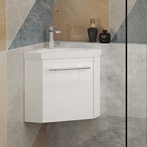 Acezanble Eckwaschtisch Badmöbel 40 cm Waschtisch mit Unterschrank Gäste WC Weiß
