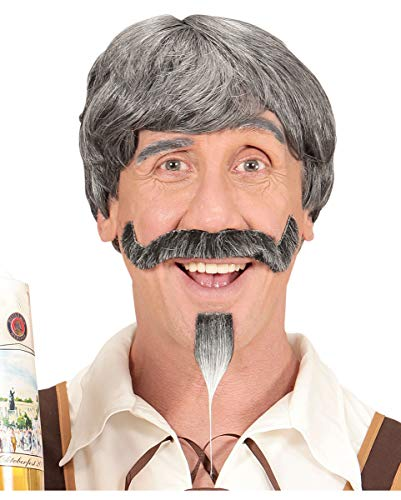 Beierse Mannen Pruik Met Snor En Kinbaard