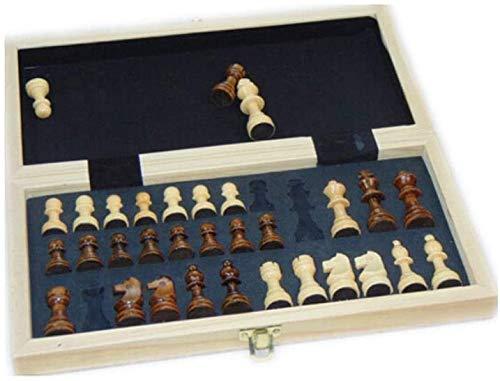 Schaakbord speelgoed International Chess, Stevige Houten Opvouwbaar Schaak, ingebouwde Portable Game Bijzonder groot Schaken (Brown, 29 * 29 * 3cm) makkelijk mee te nemen (Maat: Small)