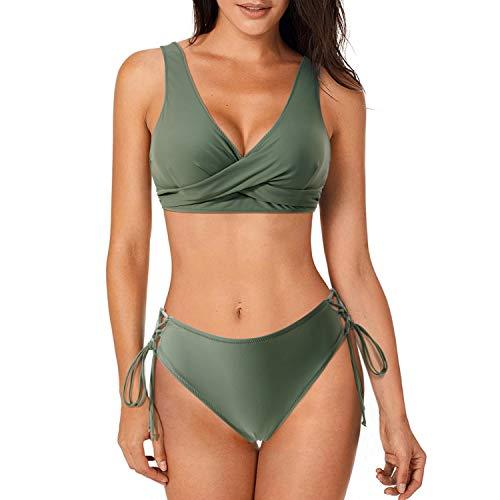 MOSHENGQI Womens Bikini Swimsuits Cute Twist Lace Up Two Piece Bathing Suit(L,Army Green)