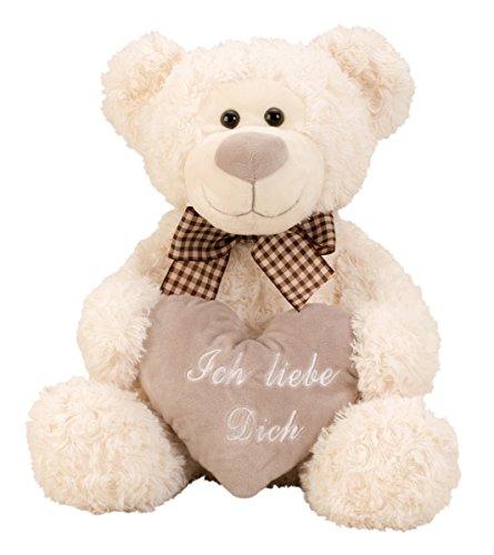 Geschenkestadl Bär mit Schleife und Herz Ich Liebe Dich Kuschelbär 32 cm Teddy Kuscheltier Teddybär Liebe
