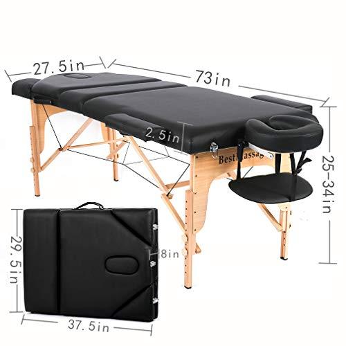 "BestMassage PU Portable Massage Table Massage Bed Spa Bed 73"" Height Adjustable Bed Massage Portable Salon Table Portable PU Massage Table Bed W/Carry Case"