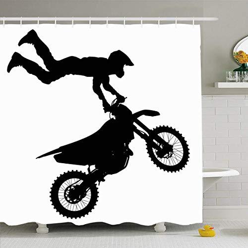 N/A Douche Gordijn 72x72 Inch Extreme Motorfiets Zwarte Motocross Rider Op Motorfiets Actieve Motorcross Action Bike Bikers Ontwerp Waterdichte Polyester Stof Badkamer Gordijnen Set met Haken