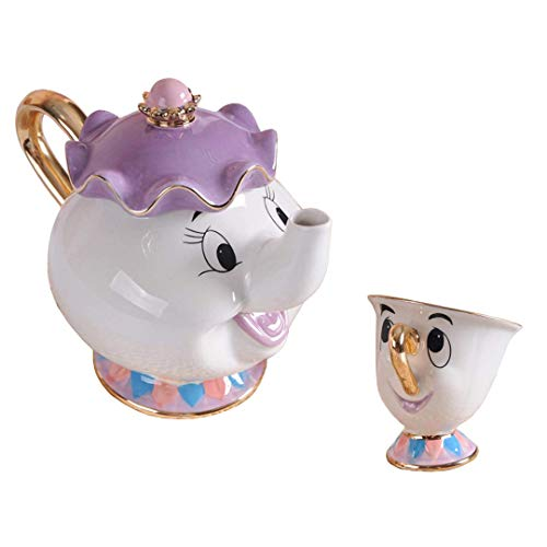 StMandy Beauty e Il miglior Set da tè Figurine di Set da tè in Ceramica con sculture in Ceramica Mrs Potts TeaPot And Chip Mug
