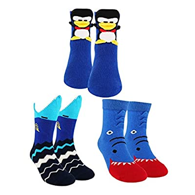 Sockmate Kid's 3D Crew Cotton Socks-Baby Shark, Penguin, Alligator, Fox Animal Sock Packs for Toddler, Girls, Boys/Ages 1-11