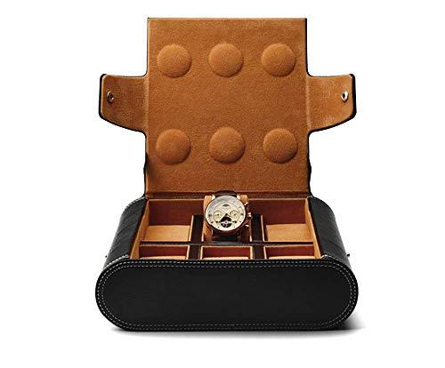 HKX Organizador Caja de baratijas Joyero Bolsa de Reloj Cabeza Bolsa de Almacenamiento de Cuero de Dos Capas Caja de Almacenamiento de Reloj de Viaje portátil Negra