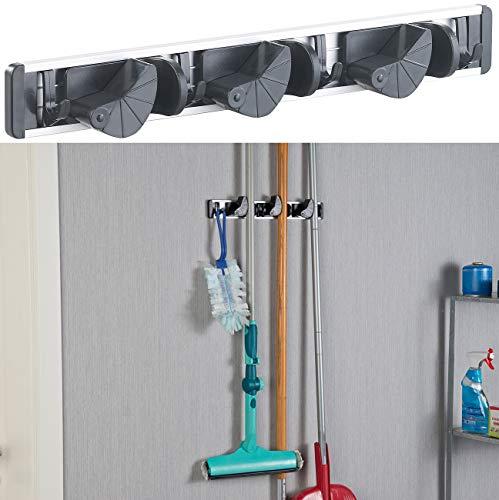 AGT Besenhalter: Wandhalter-Leiste für Besen, Wischmopp, Gartengeräte & Co. (Gerätehalter)