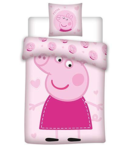BrandMac ApS Peppa Pig - Juego de cama infantil (funda nórdica de 135 x 200 cm y funda de almohada de 80 x 80 cm, algodón), diseño de Peppa Pig