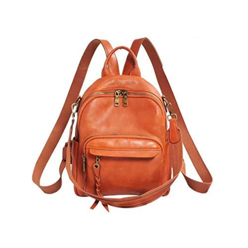 Damen-Leder-Rucksack, einfarbig, Retro, Studenten, Geldbörse, Diebstahlschutz, Rucksack, wandelbarer Rucksack, Reise-Schultertasche, Handtasche mit Quaste, B
