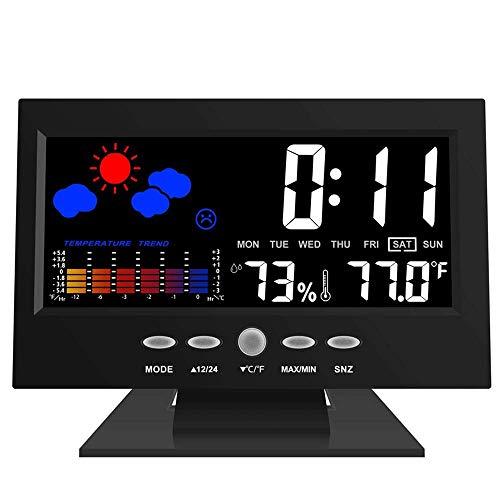 FISHTEC ® Wetterstation - Temperatur Thermometer Hygrometer - LCD-Bildschirm Animierte Farben