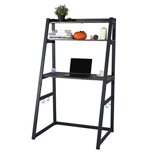 MEUBLE COSY Escritorio con estantes, Ordenador, Trabajo, Mesa Vintage, hogar, Oficina, Color marrón, 90x60x150cm