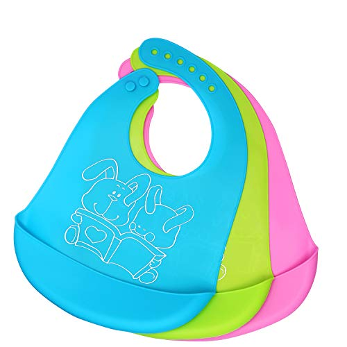Waterproof Silicone Baby Bib, Easy to Clean, Dry, Portable and Keep Stains Off, Comfortable and Adjustable Soft Feeding Bibs for Babies or Toddlers (6-72Months), Set of 3 Colors
