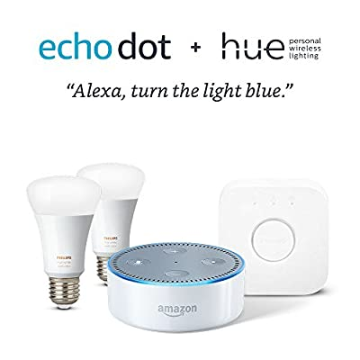 Echo Dot + Philips Hue Smart Bulb Kit - Black