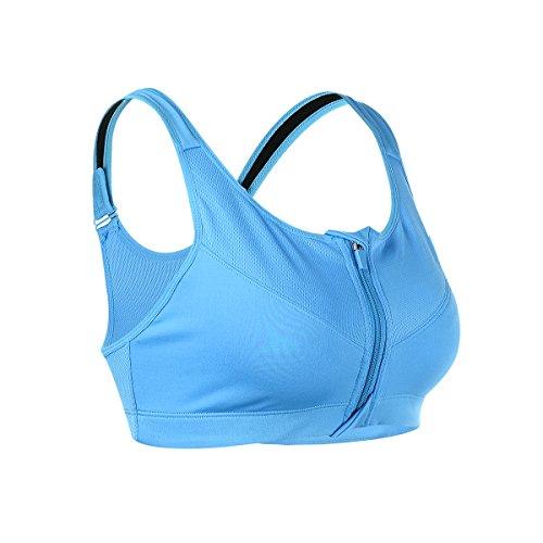 EUFANCE Damen mit Reißverschluss Yoga Fitness Stretch Sport BHS Push Up Sportunterwäsche Trägertop Sports Bra…