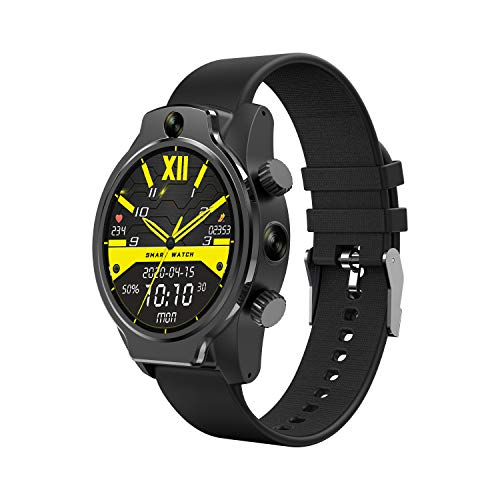 """Smartwatch Android 4G LTE IP68 Waterproof Smart Watch with 3GB RAM 32GB ROM WiFi, Ceramic Bezel, 1.69"""" Full Touch Display, 24H Heart Rate GPS, Face Unlock, Dual Camera, Global 4G Network"""