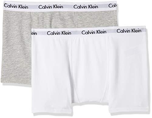 Calvin Klein Jungen Boxershorts 2PK Trunk, Grau (White/Grey Htr 926), 158 (Herstellergröße: 12-14)