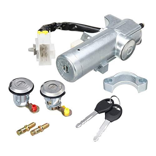 JIABIN Songz Store Interruptor de Encendido del automóvil Conjunto de Bloqueo de Puerta Derecho Izquierdo con 2 Llaves adecuadas para Nissan Navara D22 1997 1998-2003 2004 2005 2006 K9810-2S806