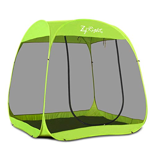 ZJRIGHT Screen House Room, Pop Up Canopy Mosquito Tent 4-6 Person Outdoor Camping Tent Dining Sun Shade Screen Room Tents Gazebos for Patios Not Waterproof Green 7'x7'