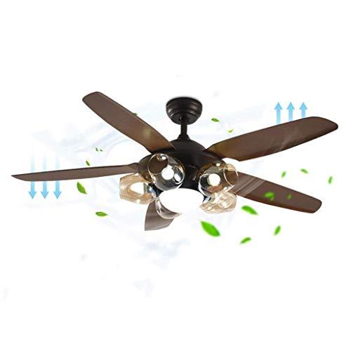 MYBA Ventilador de techo Stumm de 54 pulgadas, ventilador de techo de metal, ventilador interior de techo moderno inteligente LED, luz de 5 hojas, mando a distancia (color: marrón)