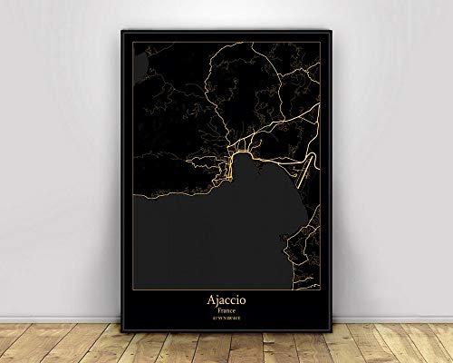 fsafa Impression sur Toile,Ajaccio France Black Gold City Light Maps Poster World Minimalist Art Canvas Peinture Images Murales pour Cafe Living Room Décoration, No Frame 60 ×80Cm