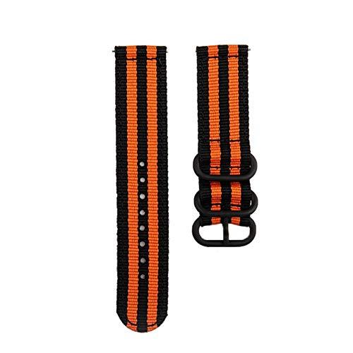 Correa de lona de nylon para MI Huami 3 2 2S / PACE/Banda de reloj de 47 mm para ver GT GT2 46mm correas 10688 (Band Color : Black orange, Band Width : For Huaw GT)