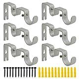 AddGrace 6 PCS Double Curtain Rod Bracket Heavy Duty Vintage Curtain Rod Holder for 1' and 5/8' Rod (6 pcs Silver)