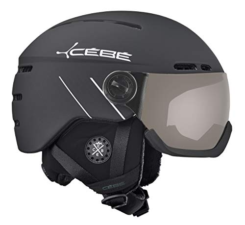 Cébé Fireball Casques de Ski Unisexe 54-56 cm Mixte Adulte, Matt Black White Line/PC Vario Perfo Grey, 54-56cm