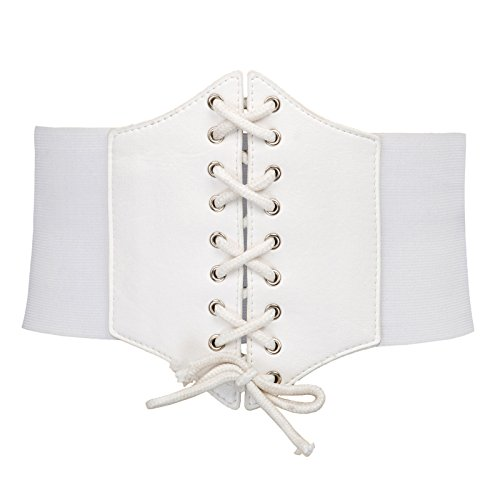 Teenager Medieval Vintage Wider Stretch Belts(M,White 499)