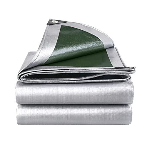 CYQ Lona Impermeable Resistente, PE Impermeable Plateado/Verde Lámina de Lona Grande con Ojales Reforzados para Cubierta de Muebles de Camping al Aire Libre (160G / Mm²), 3x4m