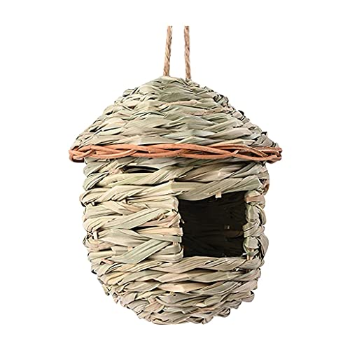 ZCWYP Bird Cage Accessories Birdhouses for Outside Nesting Straw Woven Bird House Nests Box Hanging Bird Nests Home Garden Decoration